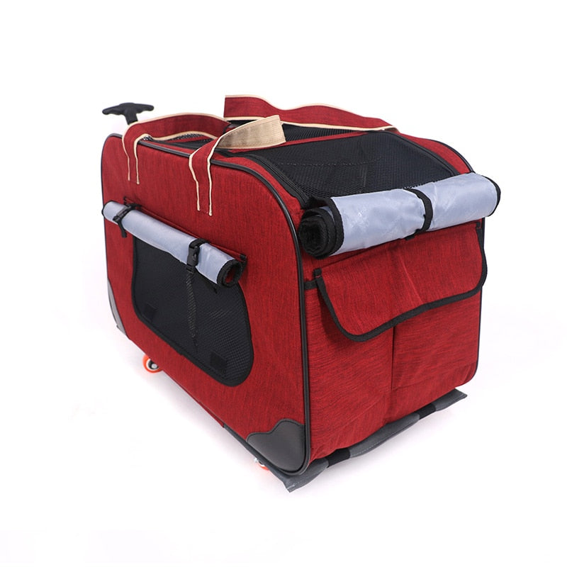 Four-wheel Foldable Pet Stroller Portable Breathable Pet Trolley Waterproof 900D Oxford Cloth Carrier Bag