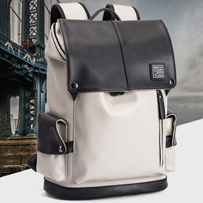Backpack Men Male Fashion Leather Backpack PU Laptop Waterproof 15.6 Inch School Bags Pack USB Charging Female Travel Bag