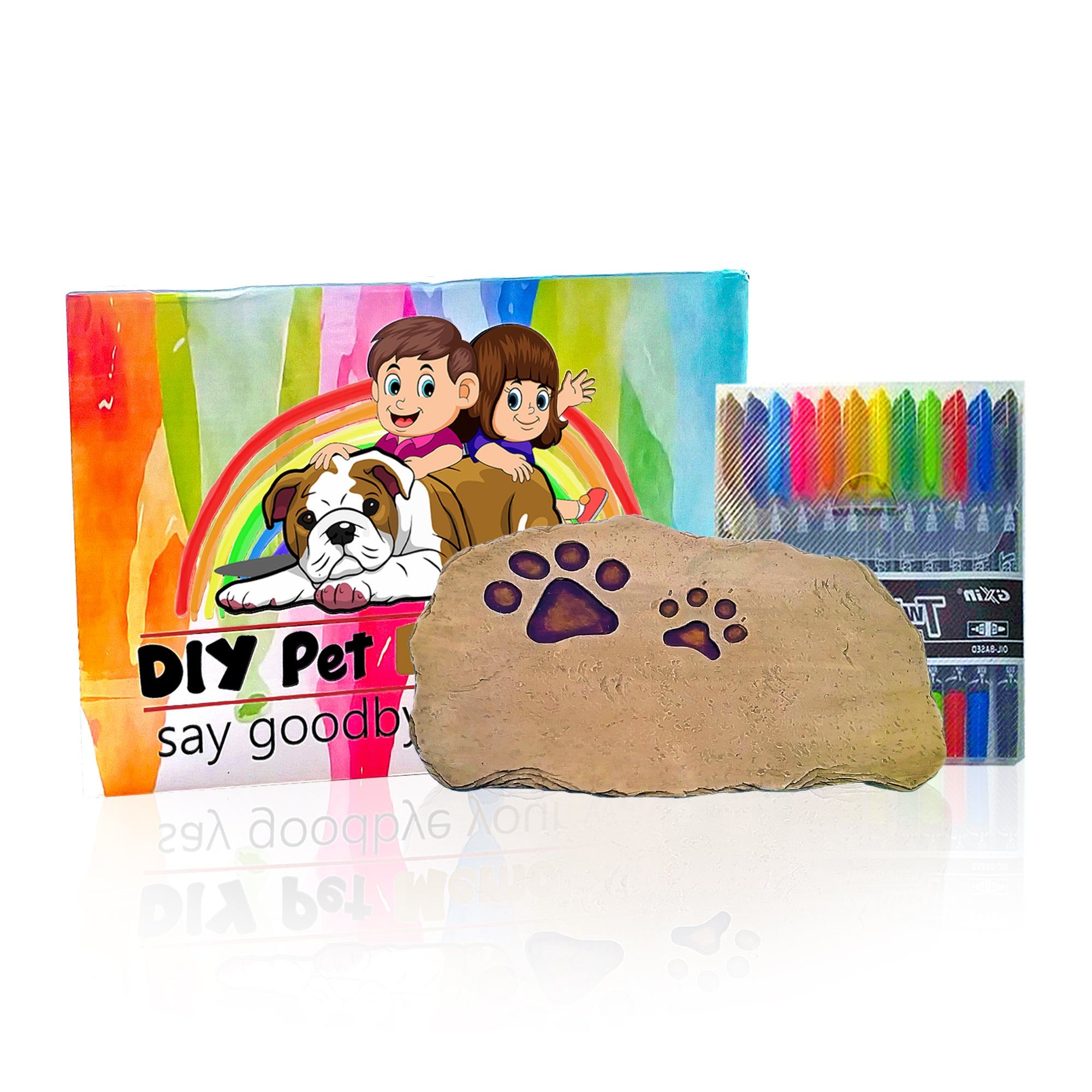 DIY Pet Memorial Say Goodbye Your Way Garden Stone for the Kids, Teens and Adults to Color Draw Own Words From Your Heart To Say Goodbye to Your Loved Pet in a Personalized, Custom and Unique Way