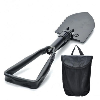 Outdoor Camping Tactical Folding Shovel with Pouch Black Portable Camping Climbing Spade Survival Emergency Tools