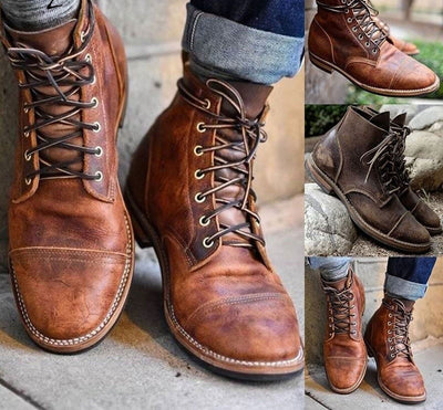 Men Vintage PU Leather Boots Retro Motorcycle Shoes Ankle Lace Up Boots British Military Boots