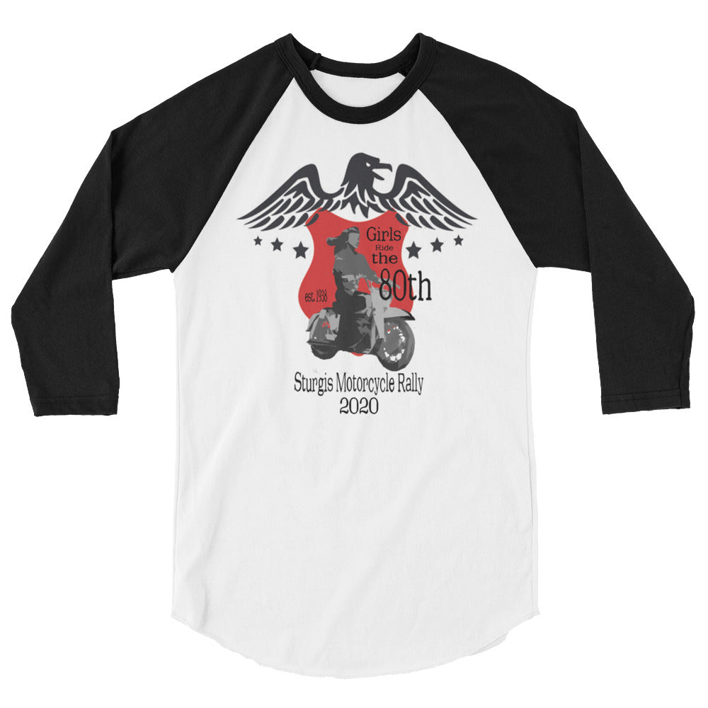 Macai & Co Sturgis 80th Anniversary Motorcycle Women Bikers 3/4 sleeve raglan shirt