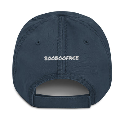 "MacAi Distressed Baseball Cap With White Paw 'BooBooFace"" collection Unisex Travel Dog Lover"