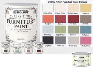 750ml Rust-Oleum Chalky Furniture Paint Water Base / Matt / Wood with or No WAX - ImagineX Furniture & Interiors