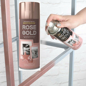 New Rust-Oleum 400ml Metallic Finish Spray Paint in Metallic Rose Gold