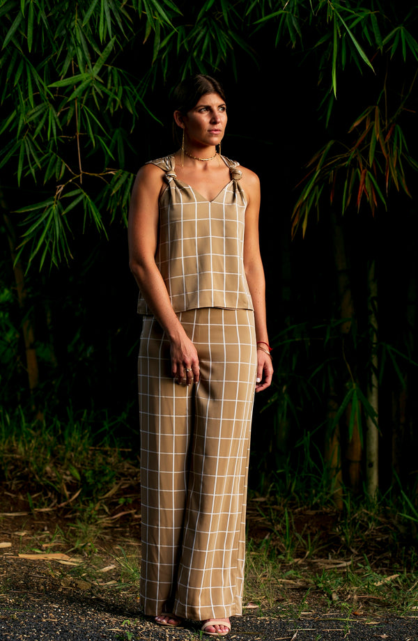 Checker Wide Leg Pants (Tan-Coord)