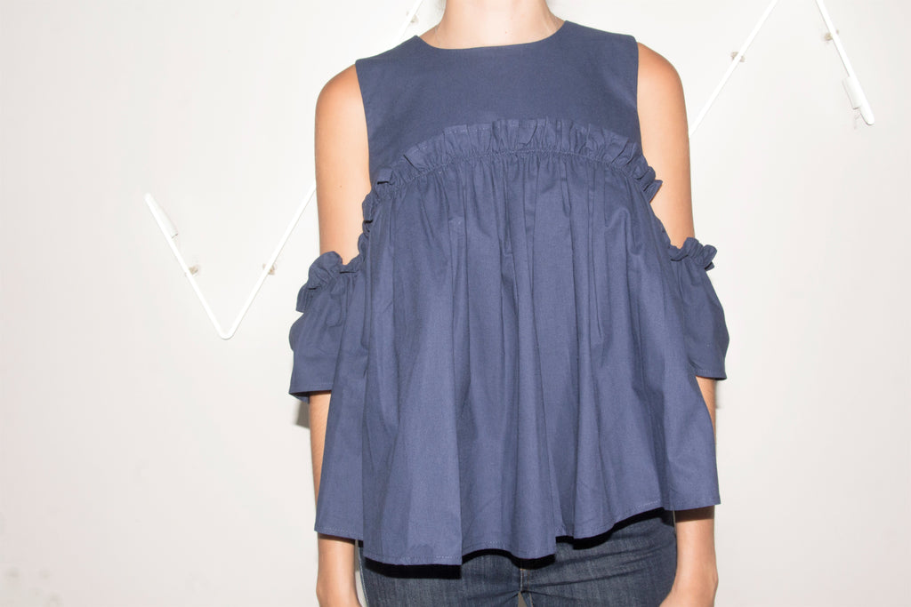 Cold Shoulder Pleated Top