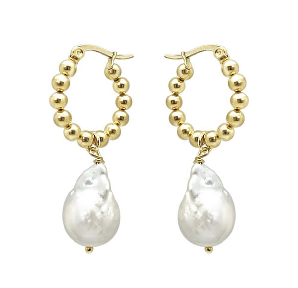 Baroque Pearl Bead Hoops