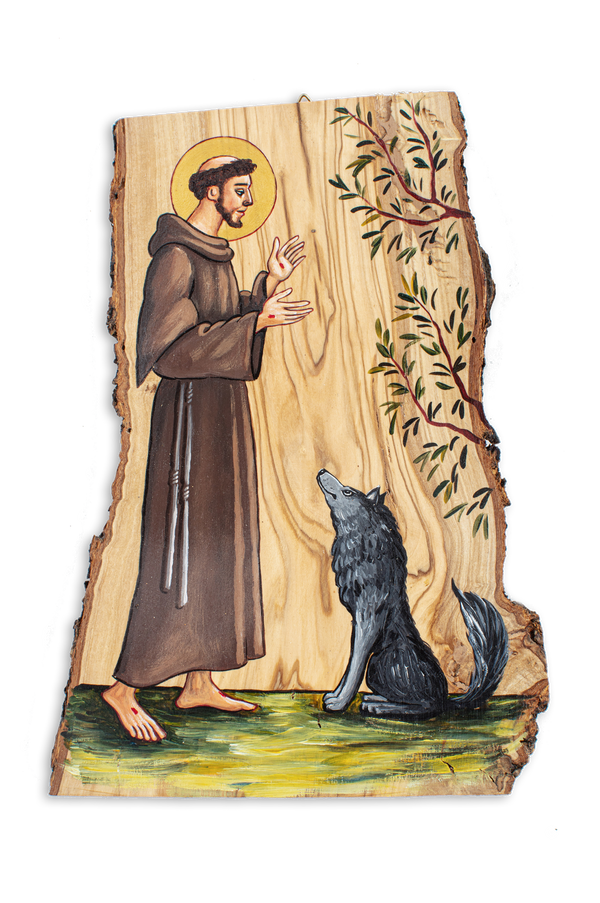 Wood Painting of <br>St. Francis with Wolf 10.5""