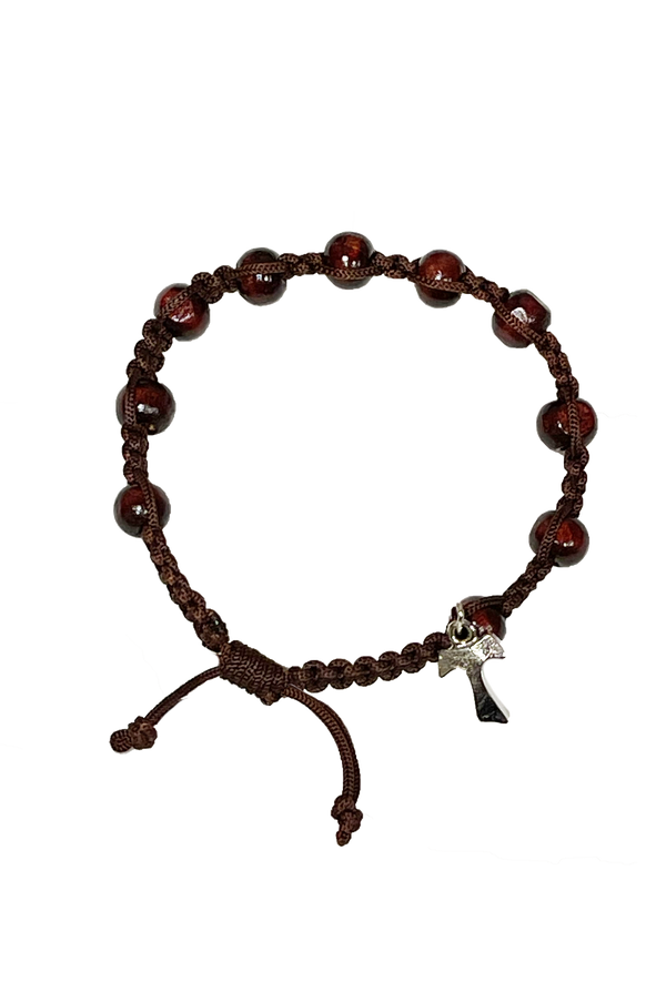Adjustable Tau Cross Bracelet With Dark Beads