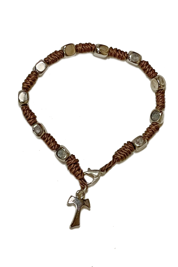 Tau Cross Bracelet With <br> Brown Knots and Metal Beads