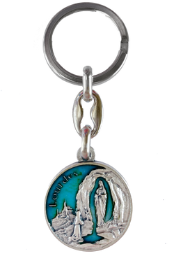 "3.5"" Our Lady of Lourdes Blue Enamel Key Ring <br>(Made in Italy)"