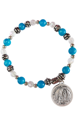 Lady of Lourdes Italian Beaded Charm Bracelet