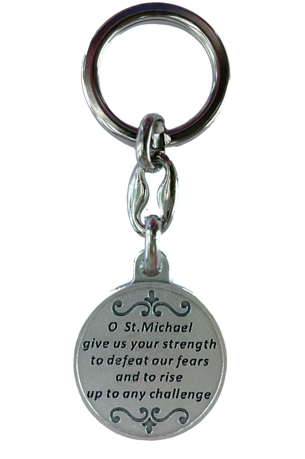St. Michael Key Ring Silver-Tone Token (Italy) - 3""