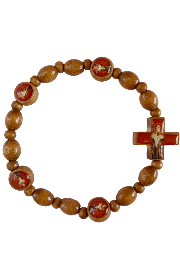 St. Anthony Italian Olive Wood Stretch Bracelet
