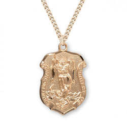 "1.2"" Saint Michael Gold Over Sterling Silver Badge Medal"