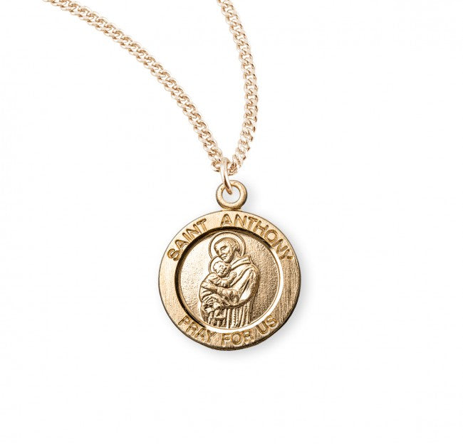"0.8"" Patron Saint Anthony Round Gold Over Sterling Silver Medal"