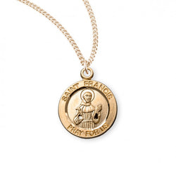 "0.8"" Patron Saint Francis of Assisi Round Gold Over Sterling Silver Medal"