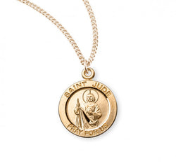 "0.8"" Patron Saint Jude Round Gold Over Sterling Silver Medal"