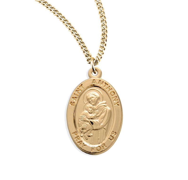"0.9"" Patron Saint Anthony Oval Gold Over Sterling Silver Medal"