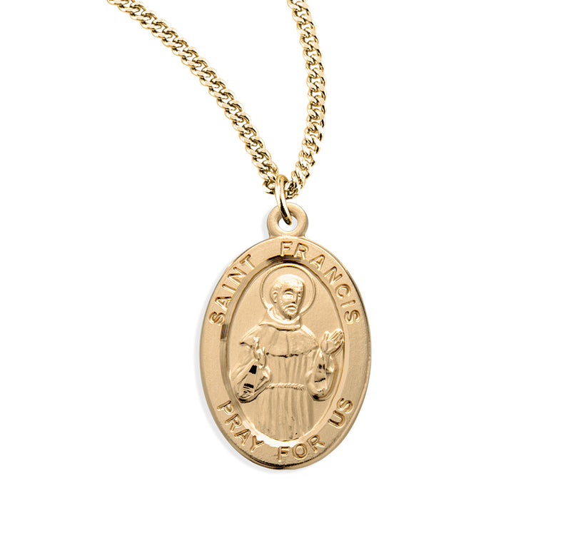 "0.9"" Patron Saint Francis of Assisi Oval Gold Over Sterling Silver Medal"