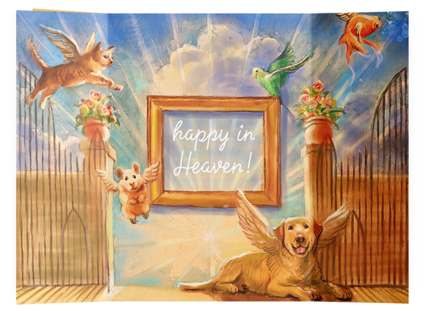 Happy in Heaven Pet Remembrance Card