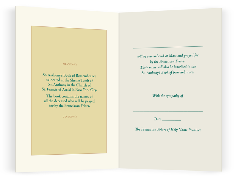 Book of Remembrance Memorial Card and Mass