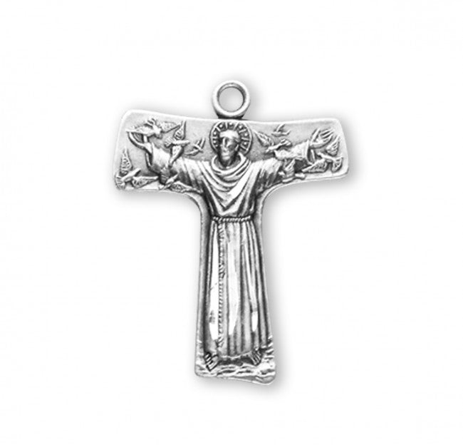 ".8"" Saint Francis of Assisi ""Tau"" Sterling Silver Cross Medal"