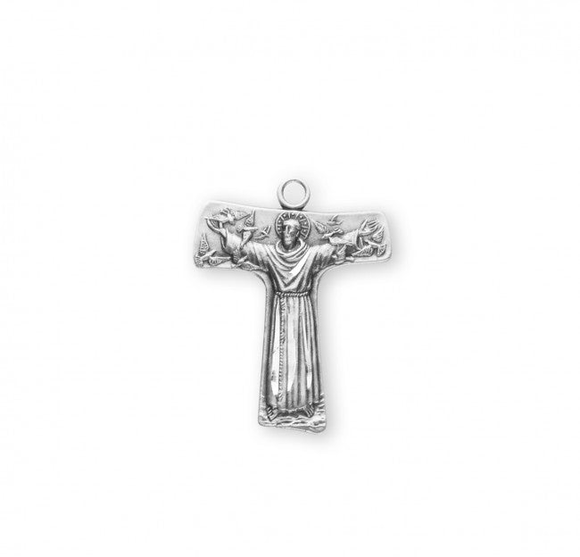 "1"" Saint Francis of Assisi ""Tau"" Sterling Silver Cross Medal"