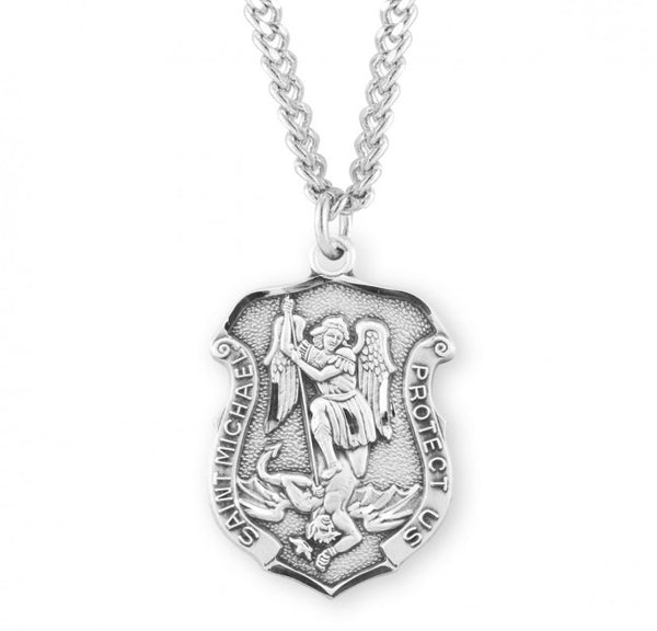 "1.2"" Saint Michael Sterling Silver Badge Medal"