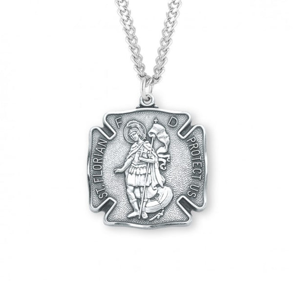 "1.1"" Saint Florian Sterling Silver Fire Fighters Medal"
