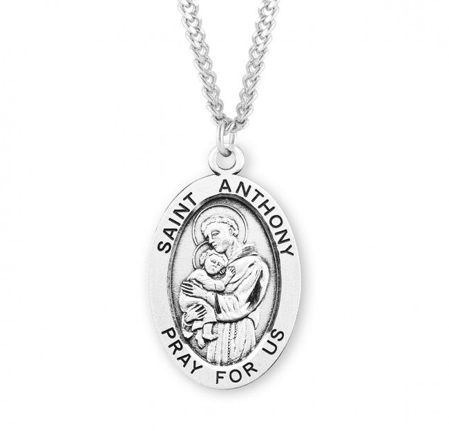 "1.1"" Patron Saint Anthony Oval Sterling Silver Medal"
