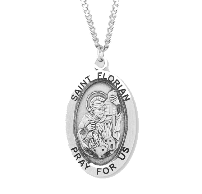 "1.1"" Patron Saint Florian Oval Sterling Silver Medal"