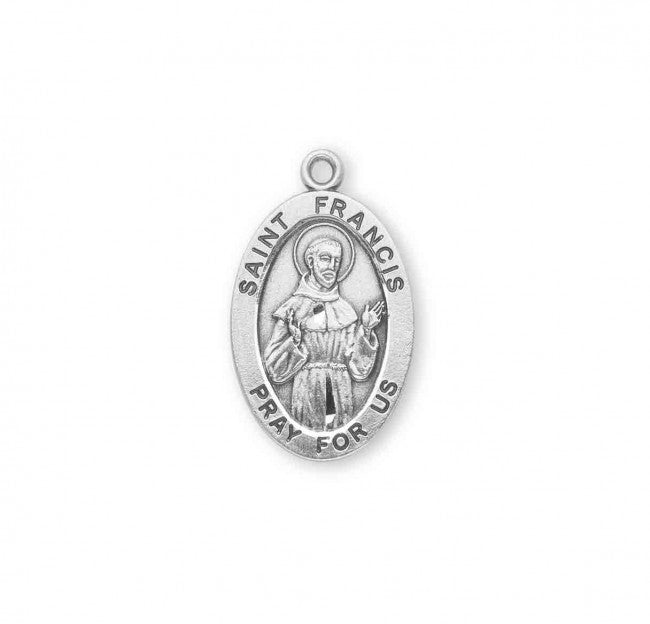 "1.1"" Patron Saint Francis of Assisi Oval Sterling Silver Medal"