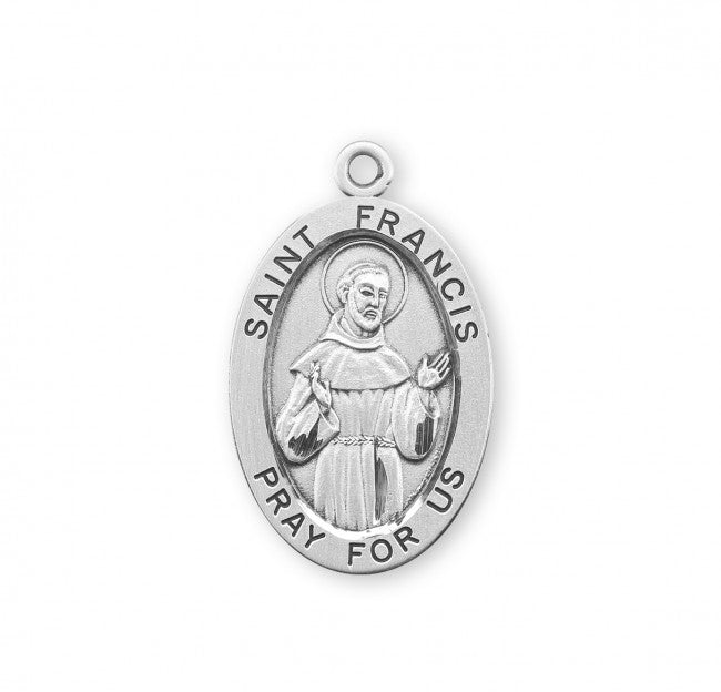 "1.3"" Patron Saint Francis of Assisi Oval Sterling Silver Medal"
