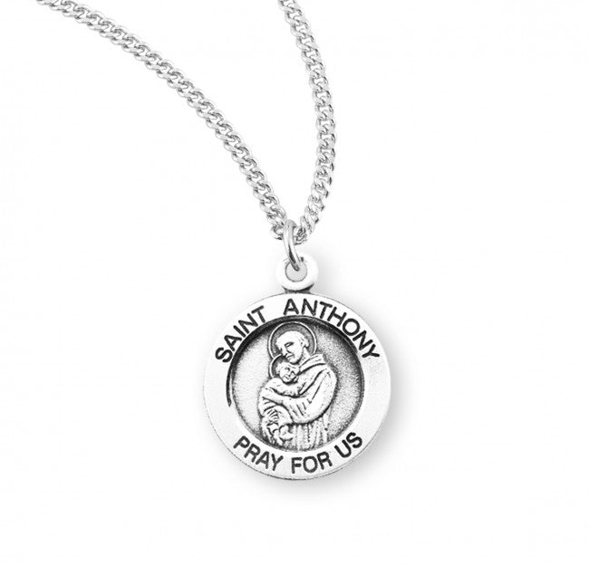 "0.8"" Patron Saint Anthony Round Sterling Silver Medal"