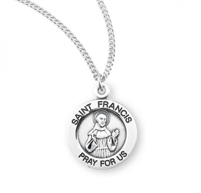 "0.8"" Saint Francis of Assisi Round Sterling Silver Medal"