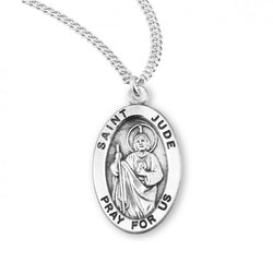 "0.9"" Patron Saint Jude Oval Sterling Silver Medal"