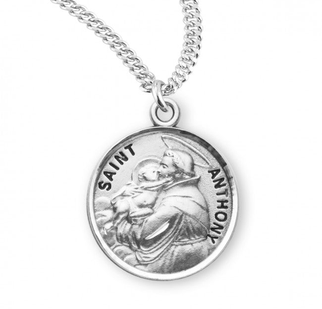 "0.8"" St. Anthony Round  Sterling Silver Medal"