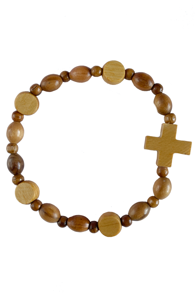 Lady of Grace Italian Stretch Bracelet Olive Wood with Enamel Picture