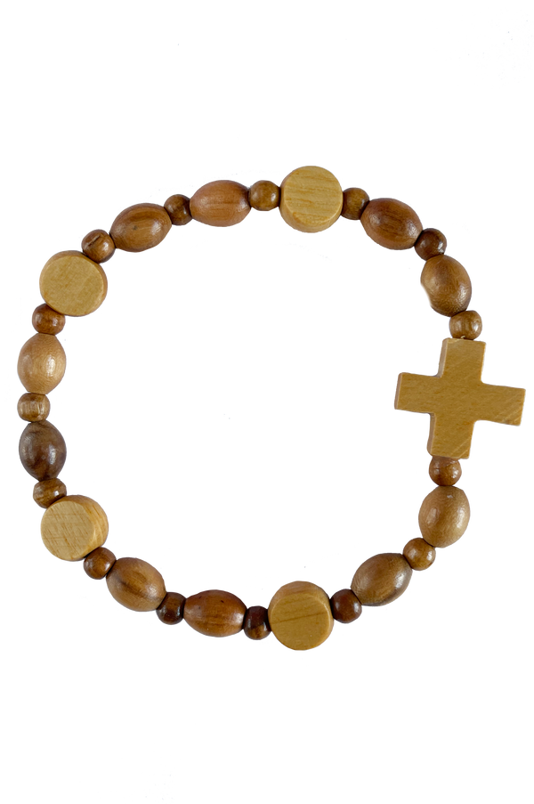 St. Michael Italian Olive Wood Stretch Bracelet