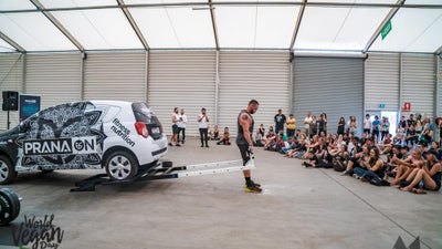 Kilos for Kindness athletes lift PranaOn car in aid of animal welfare at World Vegan Day!
