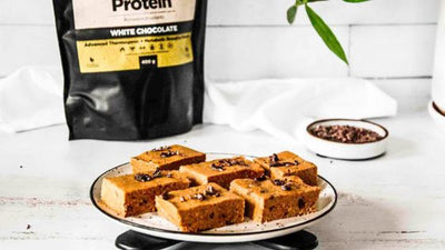 Three ingredient white chocolate protein bars