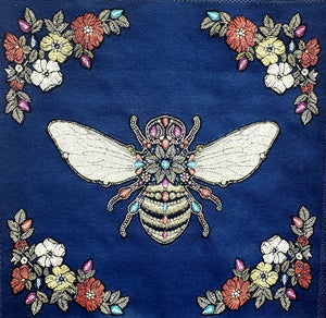 Coussin Abeille Royale Cushion $89.99 / 2 options couleurs : Bleu Royal ou Émeraude / Napoléon / Royal Bee / Canevas made in France canvas / petit-point broderie / forme mousse 100% polyester