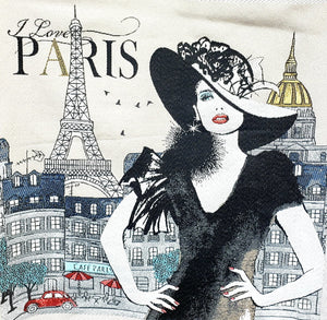 "Coussin ""I Love Paris"" Cushion $89.99 / 2 options couleurs : Perle off-white, Rose pâle / Tour Eiffel Tower  / Canevas made in France canvas / petit-point broderie / forme mousse 100% polyester"