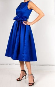 Robe Paris inspiration New-Look hommage à Christian Dior 1945 / satin bleu royal