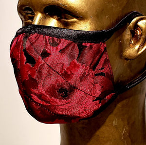 Masque Hommage à Georges Bizet / 2 options Brocart rouge ou marine / 80% polyester 20 % viscose / anatomique
