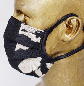 Masque Love AFRICA / style chirurgical  / 80% polyester 20% laine / zèbre noir et beige /