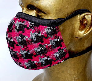 Masque Hommage à Gabrielle Chanel / 100% laine tweed Fuchsia et noir / business attire / rendez-vous d'affaire / corporatif / haute couture / coco chanel