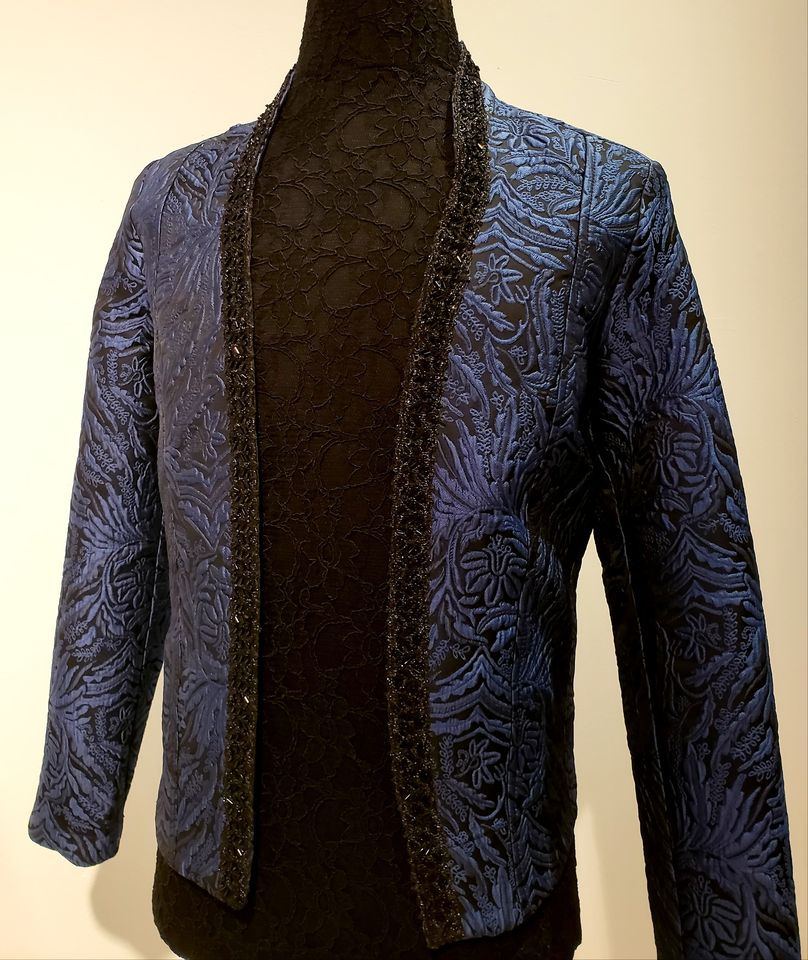 Veste Roméo / brocart bleu et noir / sport jacket / prince jacket / ballet inspiration / black and blue brocard /